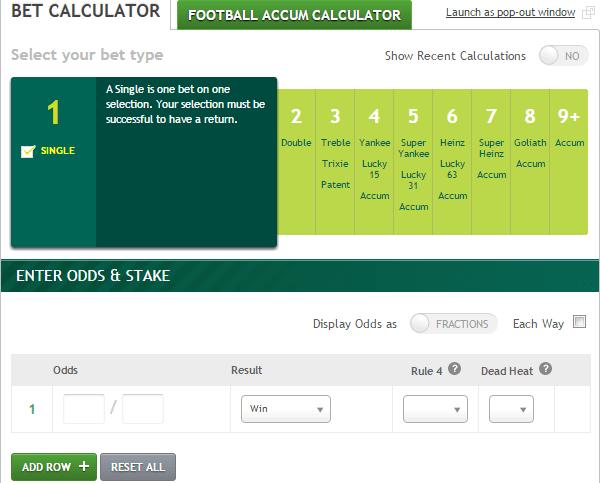 Accumulator Calculation Bet
