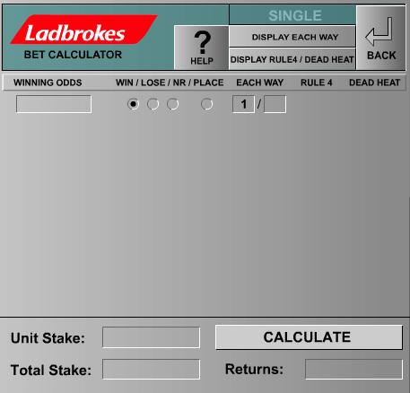 Each Way Bet Calculator