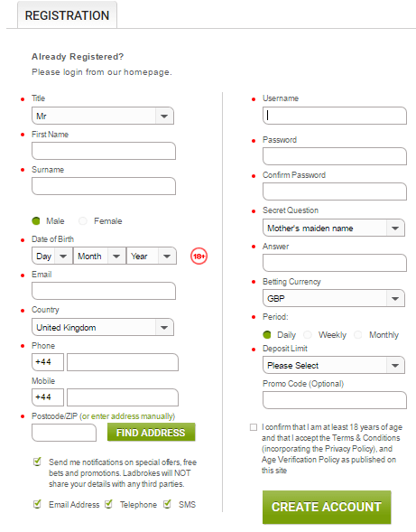 Ladbrokes registration