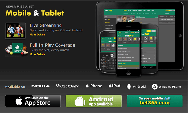 Bet365 Mobile and Tablet Apps