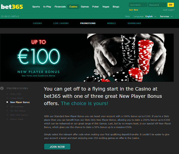 Bet365 casino new player bonus